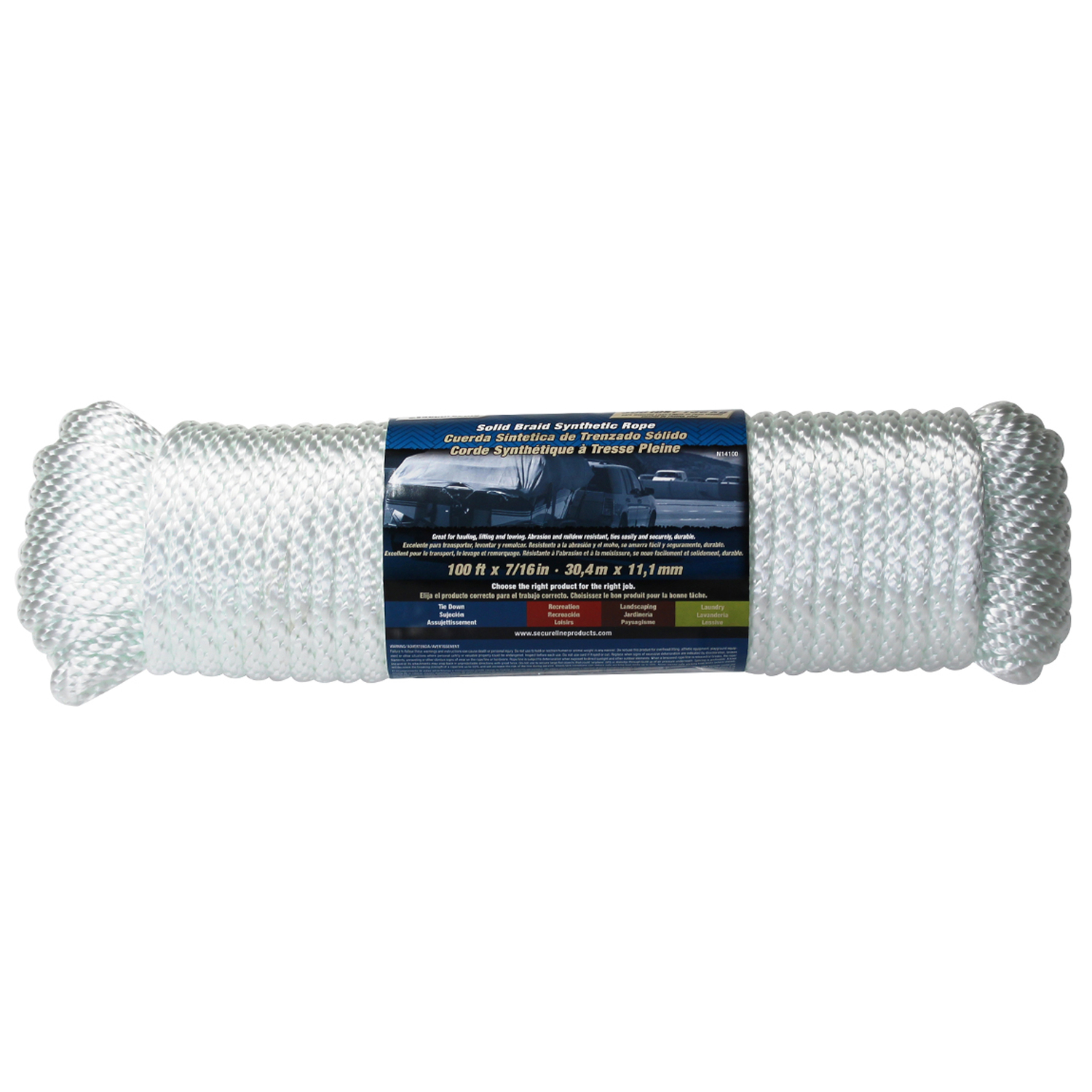 Wellington  7/16 in. Dia. x 100 ft. L Poly  Rope  White  Solid Braided