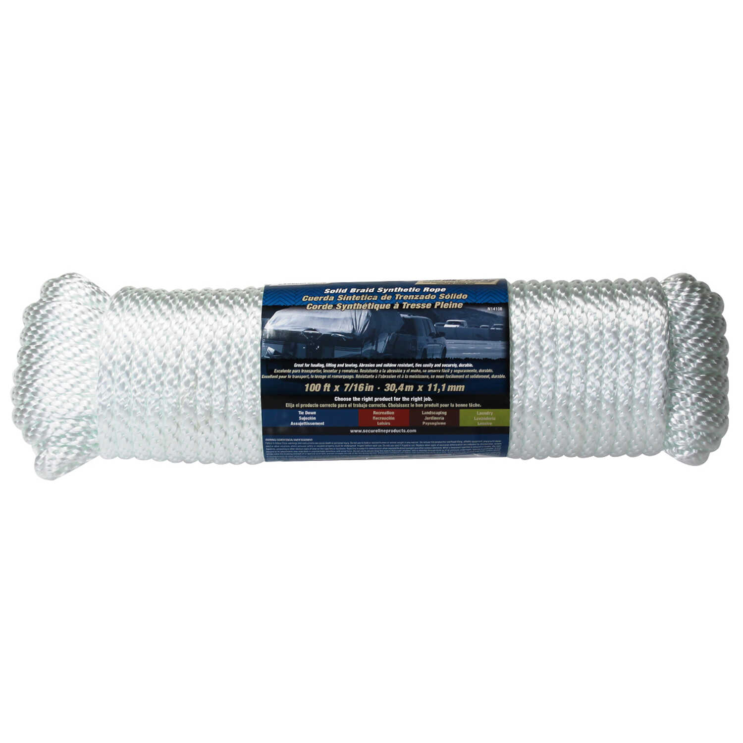Wellington  7/16 in. Dia. x 100 ft. L White  Poly  Solid Braided  Rope