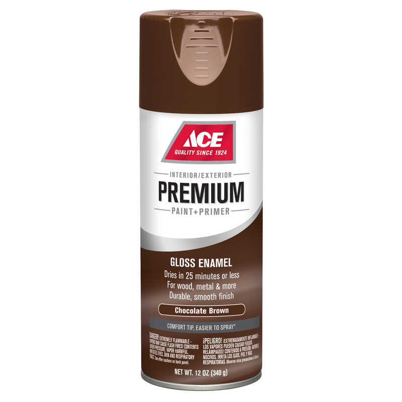 Ace  Premium  Gloss  Chocolate Brown  Enamel Spray Paint  12 oz.