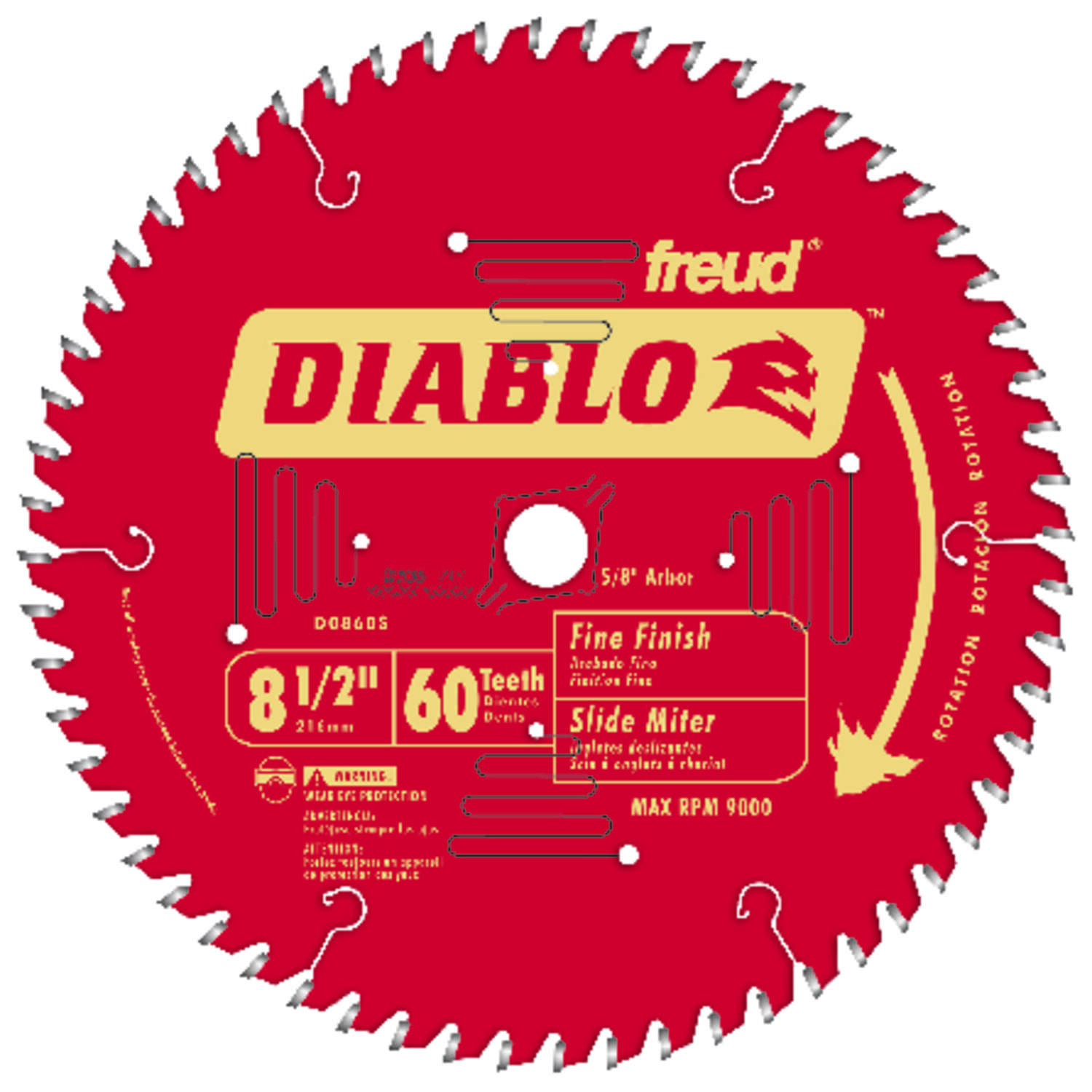 Diablo 8-1/2 Dia. x 5/8 in. Titanium/Carbide Miter Saw Blade 60 teeth 1 pc.