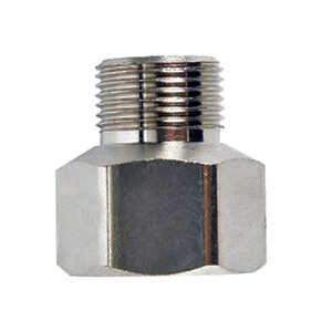 JMF  1/2 in. Dia. x 3/8 in. Dia. Threaded To Compression To Compression  Chrome Plated  Yellow Brass
