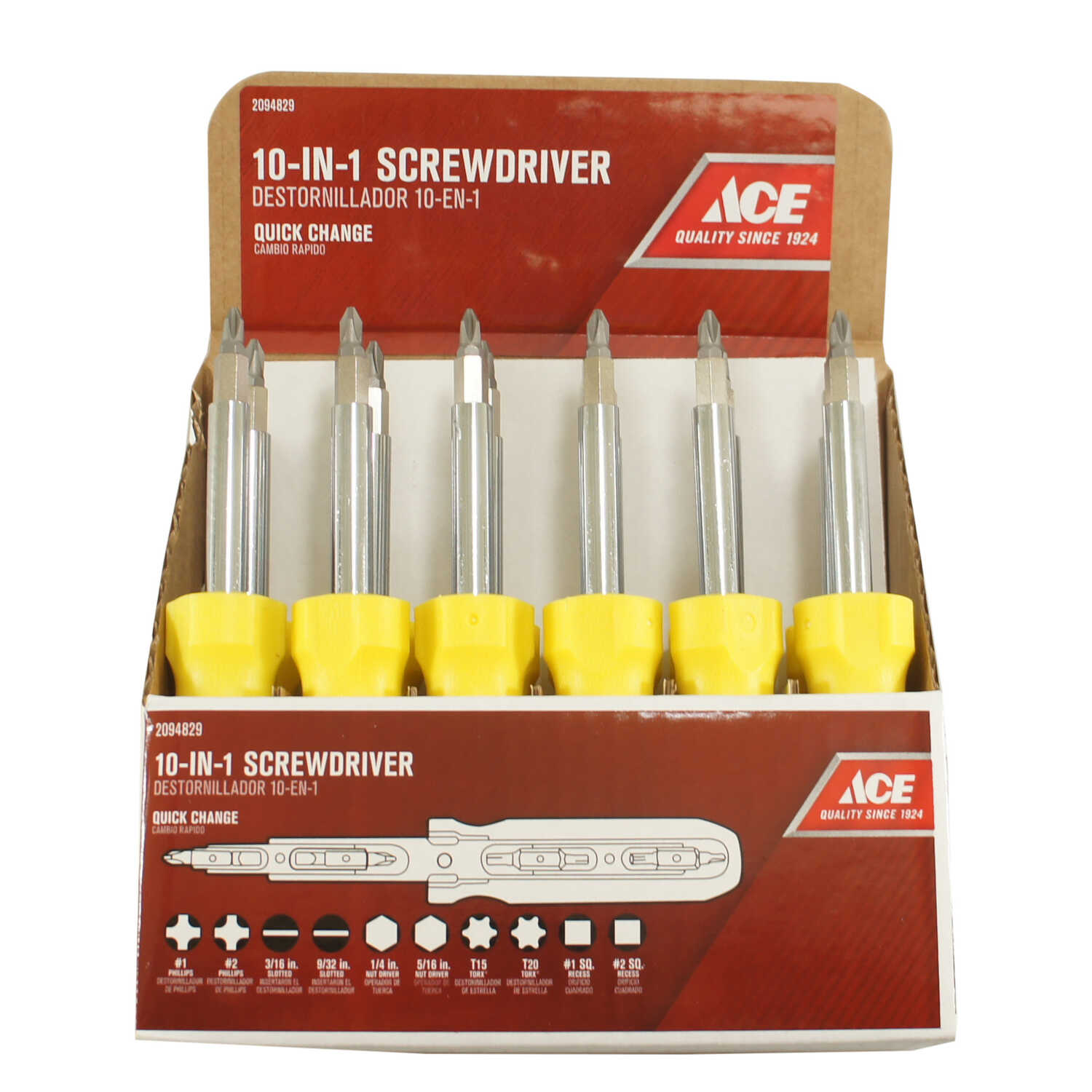 Ace  4 in. 10-in-1 Screwdriver  Steel  Yellow  1 pc.
