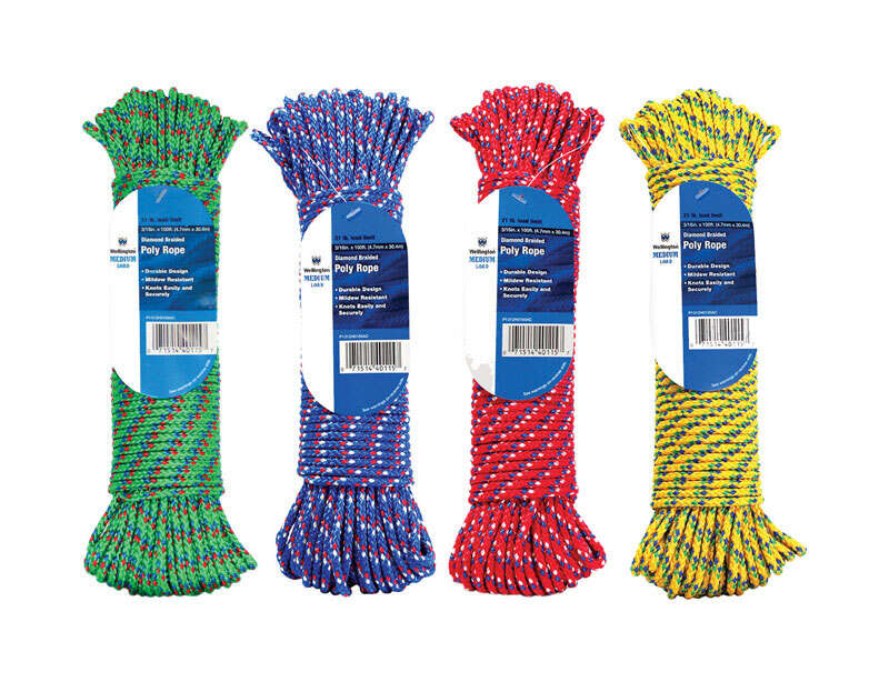 Wellington  3/16 in. Dia. x 100 ft. L Assorted  Diamond Braided  Poly  Rope