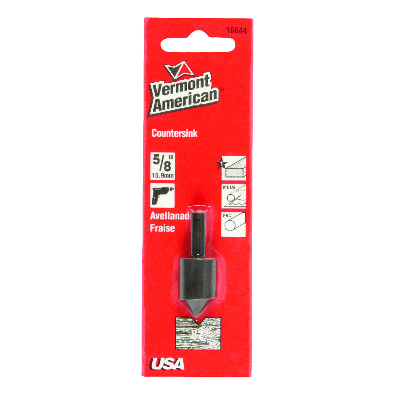 Vermont American  5/8 in. Dia. Tool Steel  Countersink  1/4 in. Round Shank  1 pc.