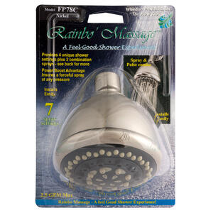Whedon  Rainbo Massage  Brushed Nickel  7 settings Showerhead  2.5 gpm