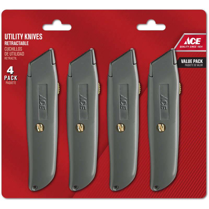 Ace  4 Pack  6 in. Sliding  Utility Knife  1 pc. Silver
