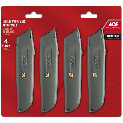 Ace  4 Pack  6 in. Sliding  Utility Knife  Silver  1 pc.