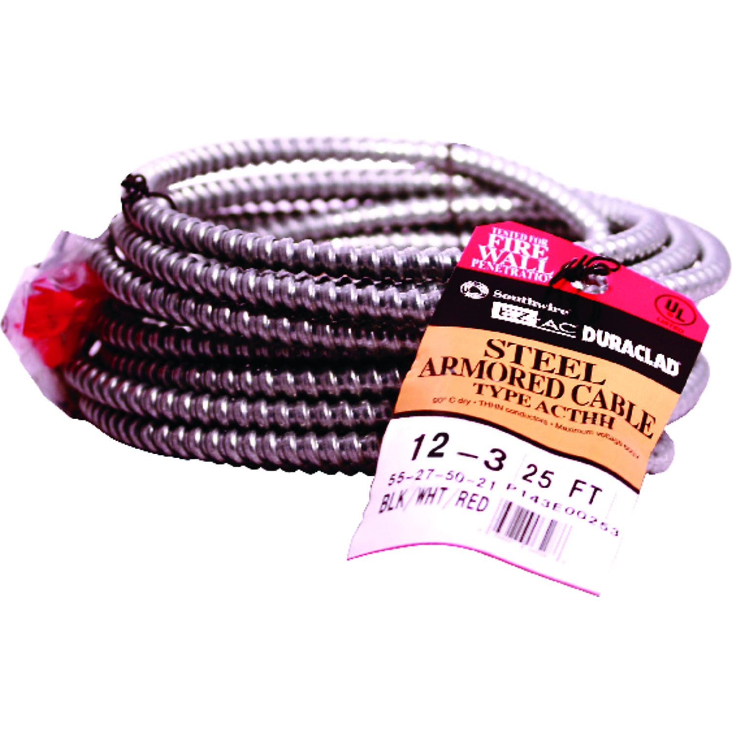 Southwire  Duraclad  25 ft. 12/3  Steel Armored AC  Stranded  Cable
