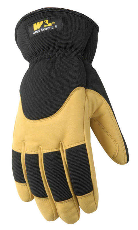 Wells Lamont  M  Synthetic Leather  Winter  Yellow/Black  Gloves