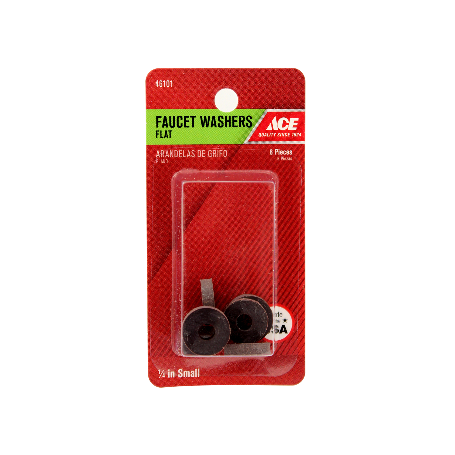 Ace  1/4 in. Dia. Rubber  Faucet Washer  6