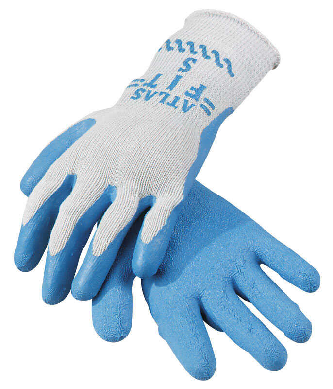 Atlas  Showa Atlas Fit  Unisex  Indoor/Outdoor  Rubber Latex  Coated  Blue/Gray  XL  Work Gloves