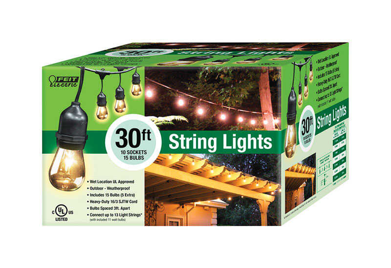 FEIT Electric  Clear  Vintage  Clear  30 ft. Edison  10 lights String Light Set