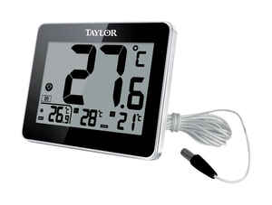 Taylor  Wire Probe  Digital Thermometer  Plastic  Black