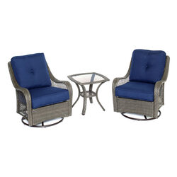 Hanover Orleans 3 pc. Chocolate Brown Steel Glider Chat Set Navy Blue Cushions