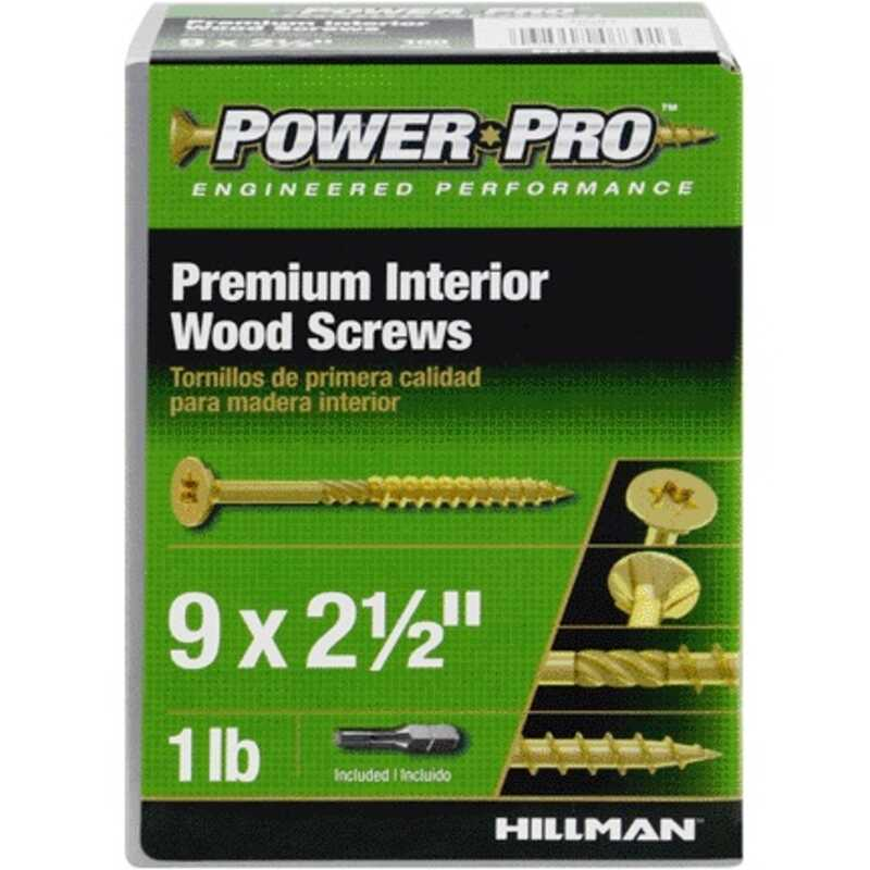 Hillman  Power Pro  No. 9   x 2-1/2 in. L Star  Flat Head Yellow Zinc-Plated  Steel  Wood Screws  10