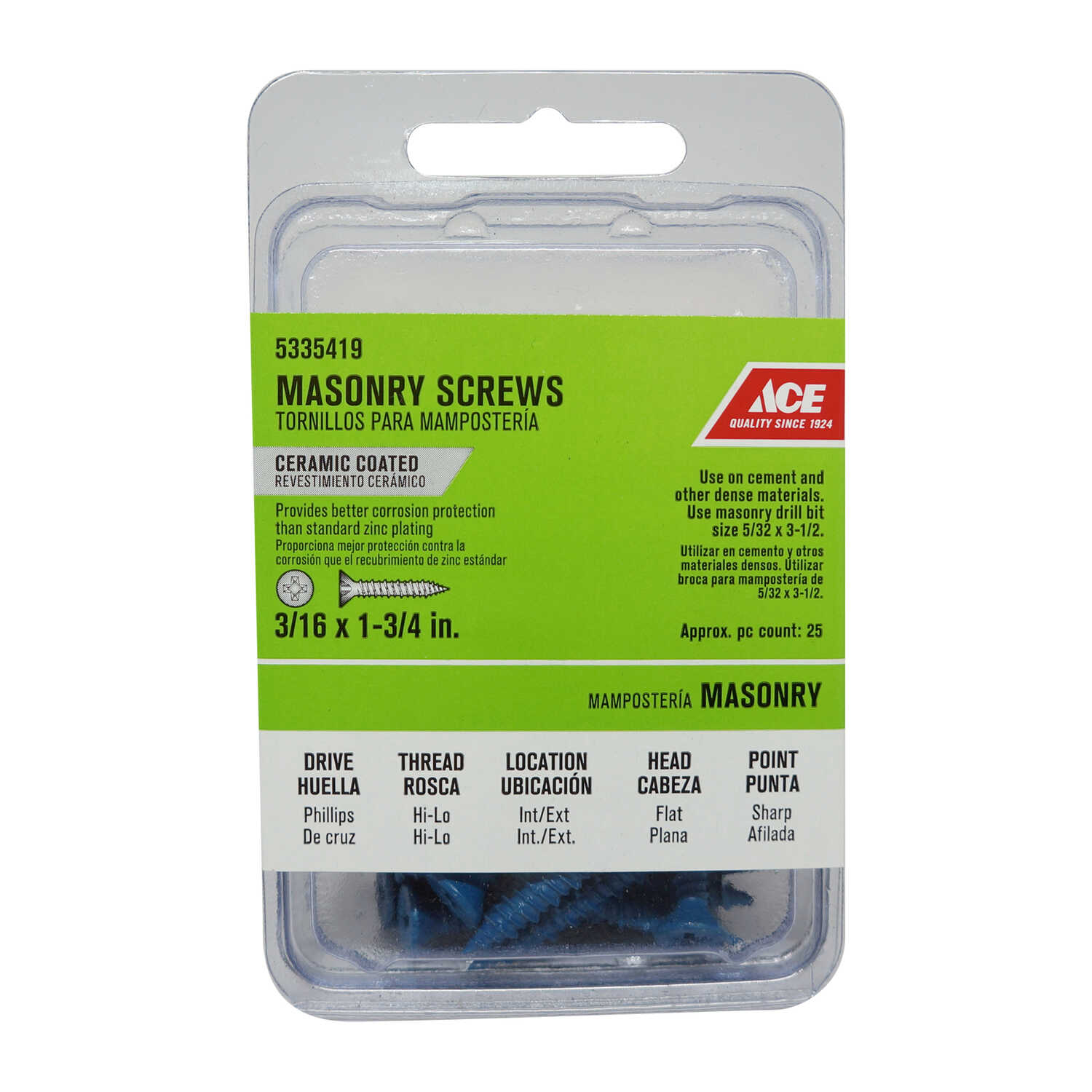 Ace  3/16 in.   x 1-3/4 in. L Phillips  Flat Head Ceramic  Steel  Masonry Screws  25 pk