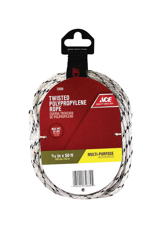 Ace  3/16 in. Dia. x 50 ft. L White  Twisted  Rope  Poly
