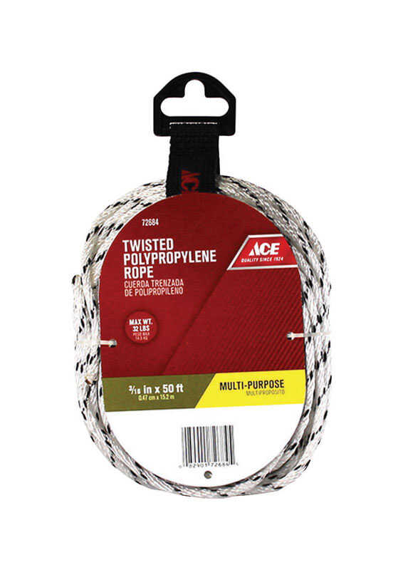 Ace  50 ft. L x 3/16 in. Dia. White  Poly  Twisted  Rope