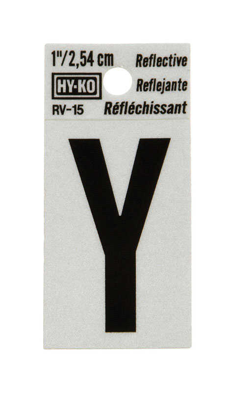 Hy-Ko  Reflective Vinyl  1 in. Letter  Self-Adhesive  Black  Y