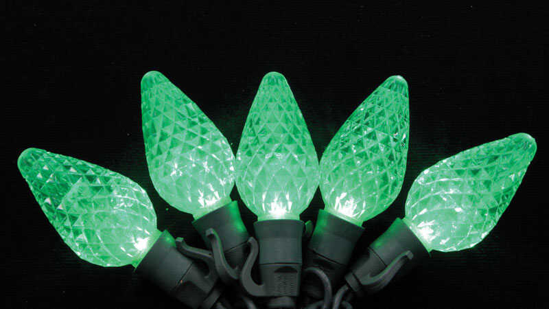 Celebrations  Platinum  LED  C9  Light Set On A Reel  Green  24 ft. 25 lights