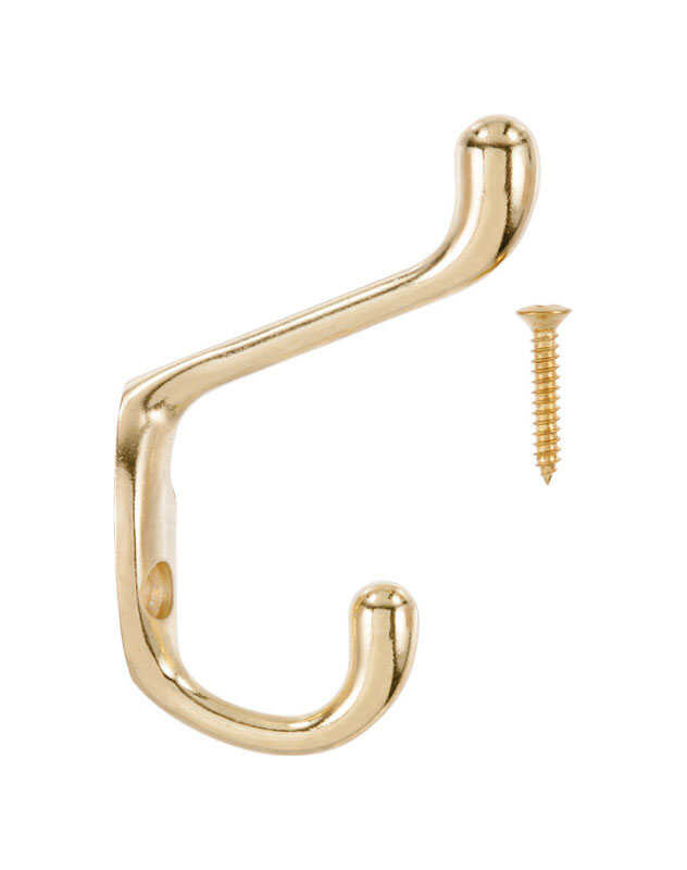 Ace  3 in. L Bright Brass  Bright Brass  Brass  Medium  Heavy Duty Coat and Hat  Hook  1 pk