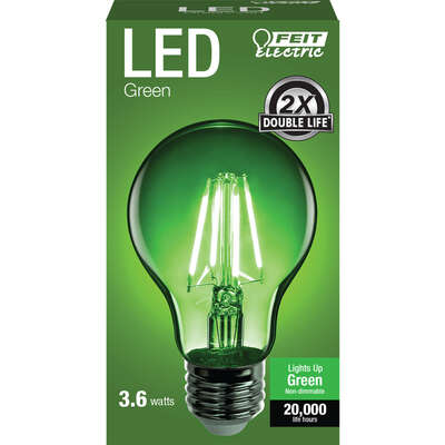 Feit Electric A19 E26 (Medium) Filament LED Bulb Green 30 Watt Equivalence 1 pk
