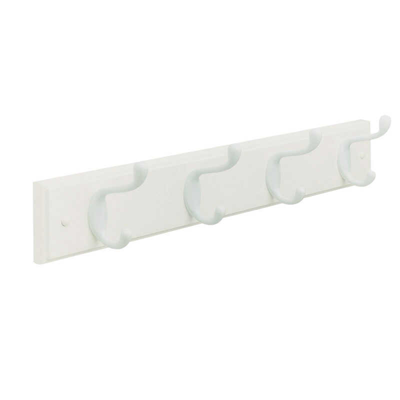 Amerock  18 in. L White  Fiberboard/Zinc  Medium  4-Hook  Rack  1 pk