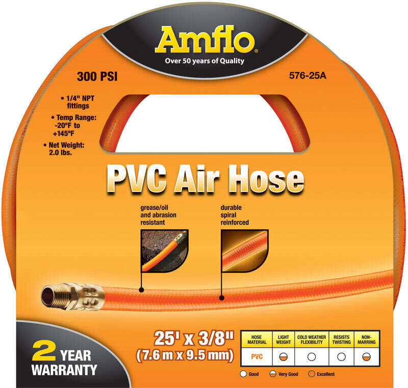 Amflo  25 ft. L x 1/4 in.  Air Hose  Polyvinyl  300 psi Orange