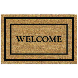 DeCoir 18 in. L x 30 in. W Tan/Black Classic Welcome Border Nonslip Door Mat