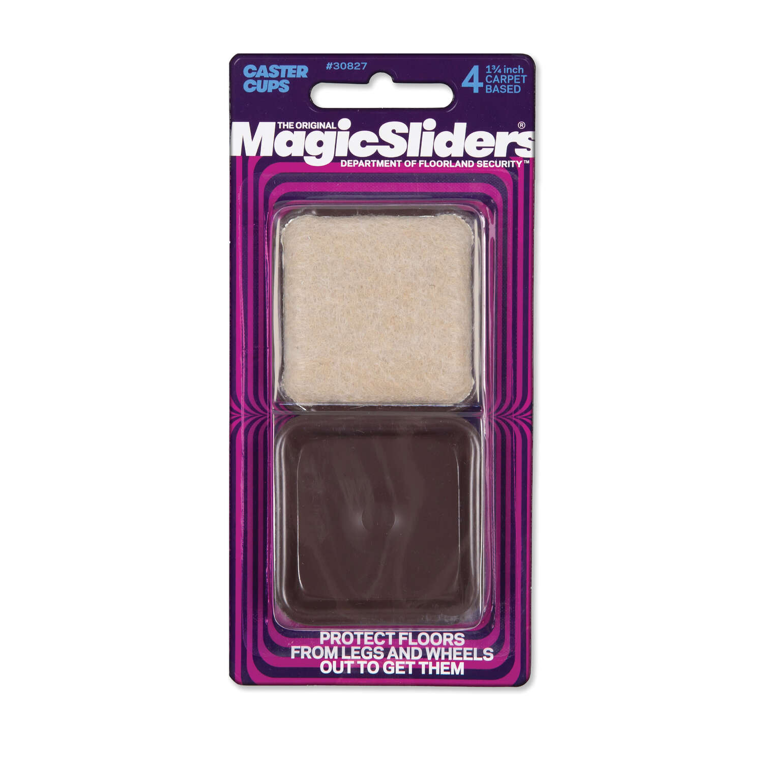 Magic Sliders  Plastic  Protective Pads  Brown  Square  1-3/4 in. W x 1-3/4 in. L 4 pk