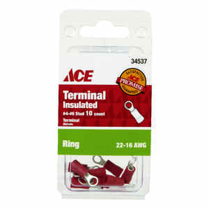 Ace  Insulated Wire  10  22-16 AWG Ring Terminal