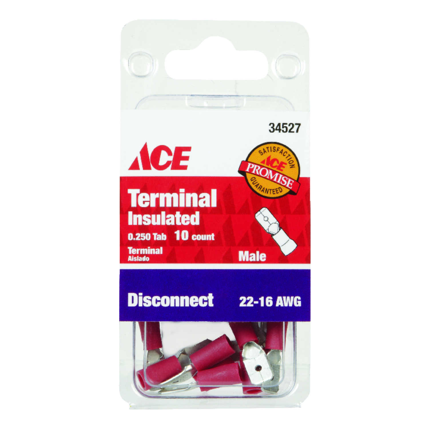 Ace  Insulated Wire  Male Disconnect  10 pk