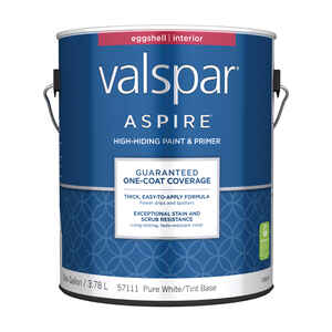 Valspar  Aspire  Eggshell  Pure White  Tint Base  Acrylic Latex  Paint and Primer  1 gal.