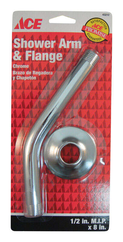 Ace  Chrome  Shower Arm and Flange  1/2 in. MIP