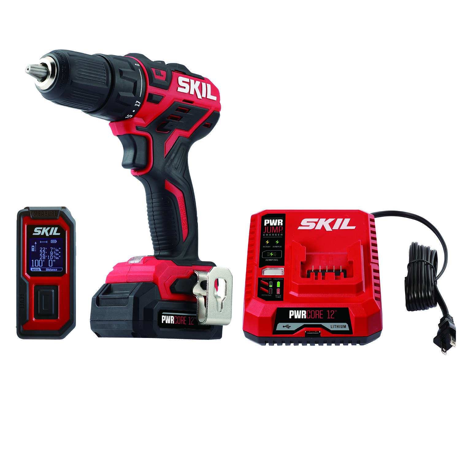 Skil PWRCore 12 12 volt Cordless Brushless 2 tool Drill Driver and Laser Measure Kit