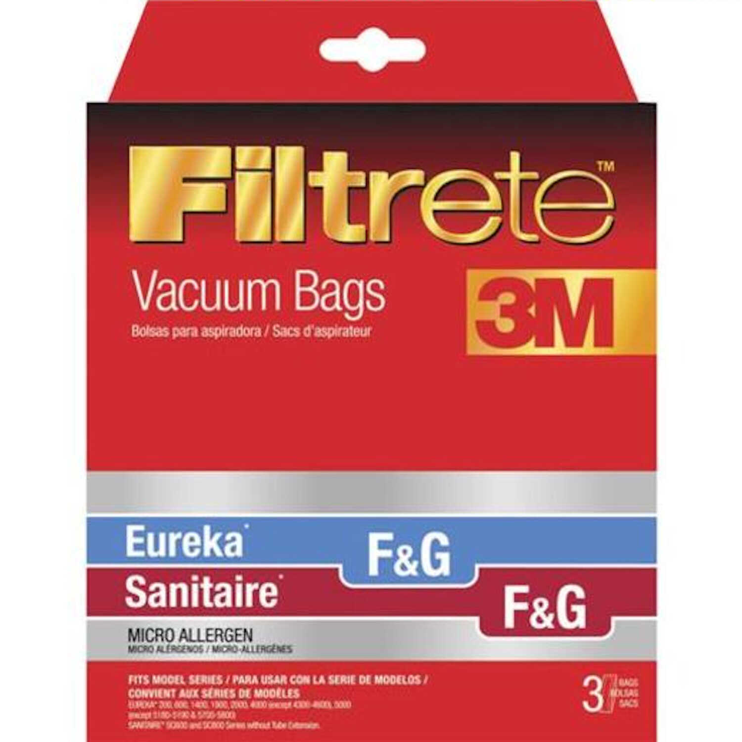 3M  Filtrete  Vacuum Bag  For Sanitaire/Eureka/Koblenz F and G, Micro Allergen 3 pk