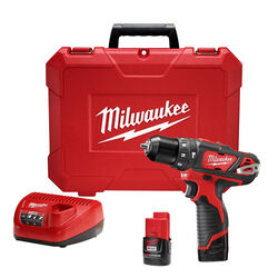 Milwaukee  12 volt 3/8 in. Brushed  Cordless Hammer Drill/Driver  Kit (Battery & Charger)