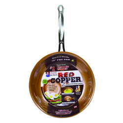 As Seen on TV  Red Copper  Ceramic Copper  Fry Pan  10 in. Red