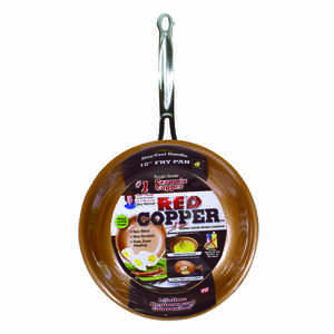 As Seen on TV  Red Copper  Ceramic Copper  Fry Pan  10 in. 0  Red