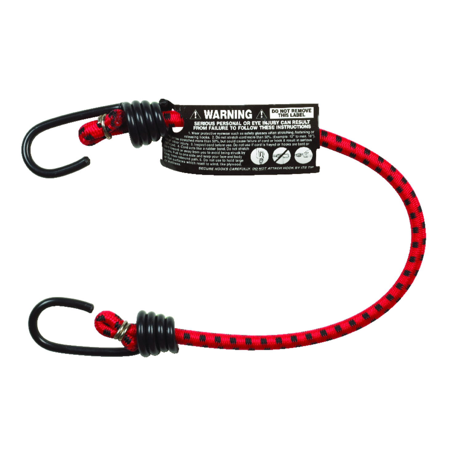 Keeper  Red  Bungee Cord  18 in. 0.315 in. 1 pk