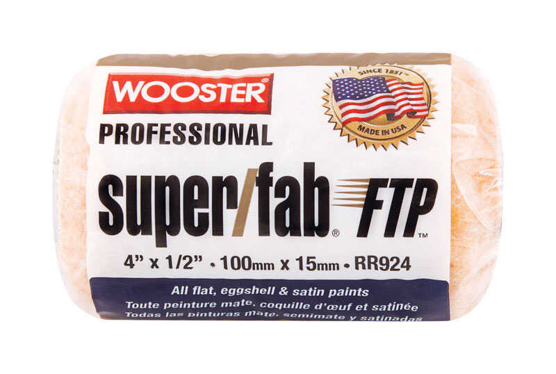 Wooster  Super/Fab FTP  Synthetic Blend  1/2 in.  x 4 in. W Trim  Paint Roller Cover  For Semi-Rough