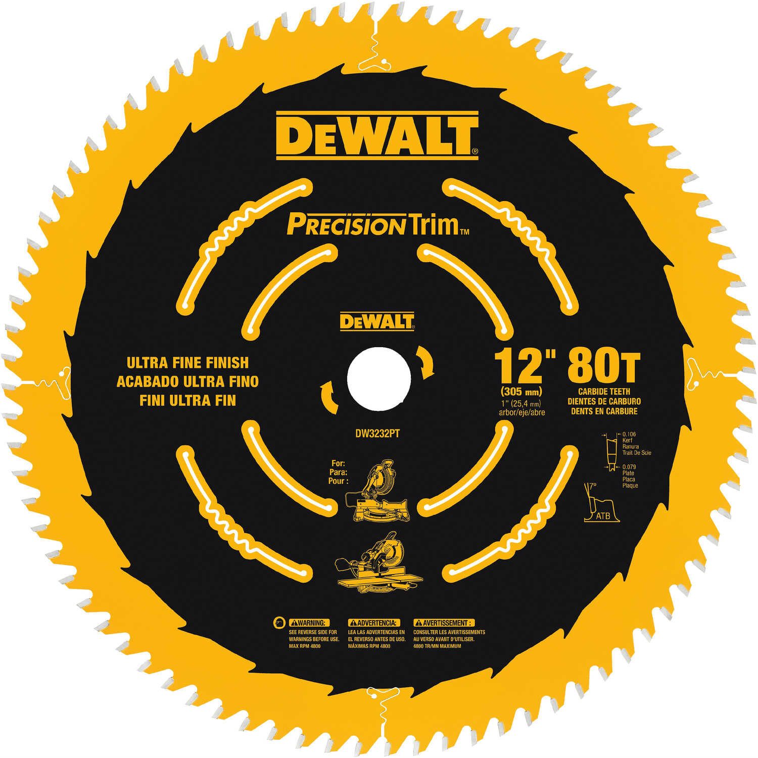 DeWalt  12 in. Dia. x 1 in.  Carbide Tipped  Precision Trim  Circular Saw Blade  80 teeth 1 pk