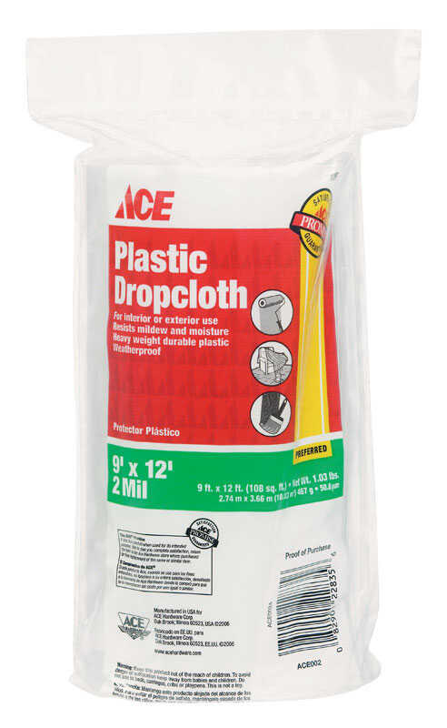 ACE  9 ft. W x 12 ft. L x 2 mil  Plastic  Drop Cloth  1 pk