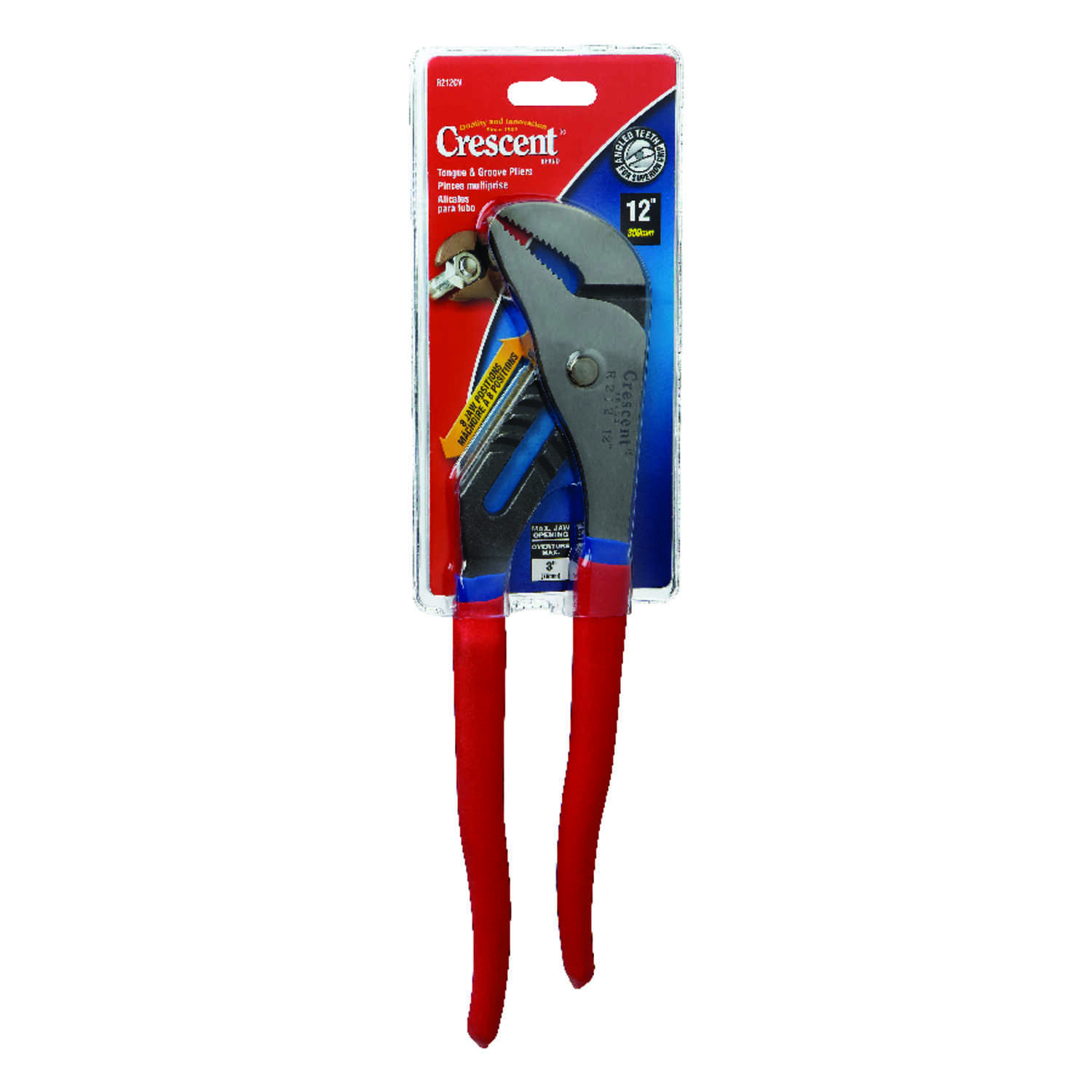 Crescent  12 in. Alloy Steel  Tongue and Groove Pliers  Red  1