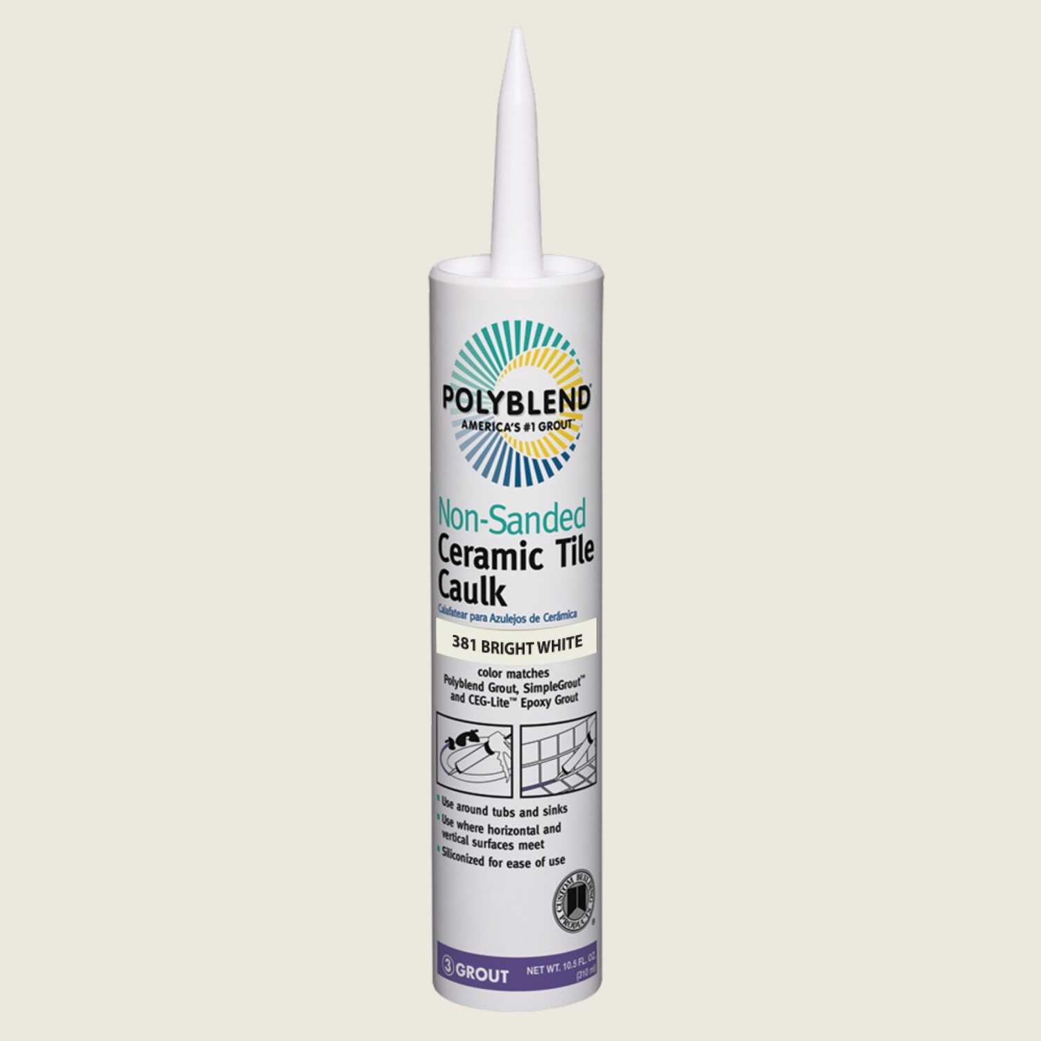 Custom Building Products  Polyblend  Bright White  Siliconized Acrylic  Caulk  10.5 oz.