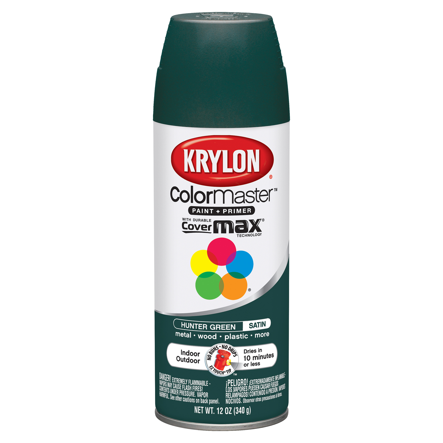 Krylon  ColorMaster  Satin  Spray Paint  Hunter Green  12 oz.