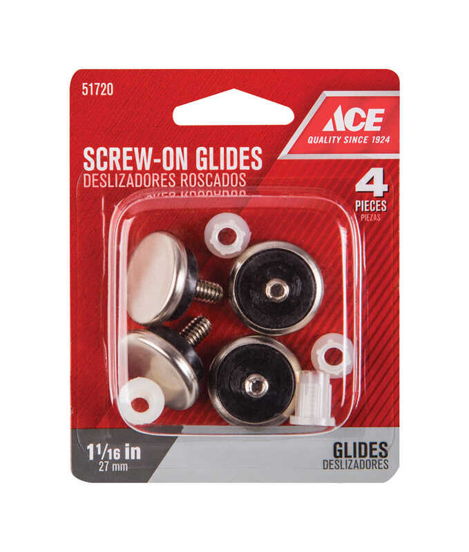Ace  Nickel  1.06 in. Threaded  Chair Glide  4 pk