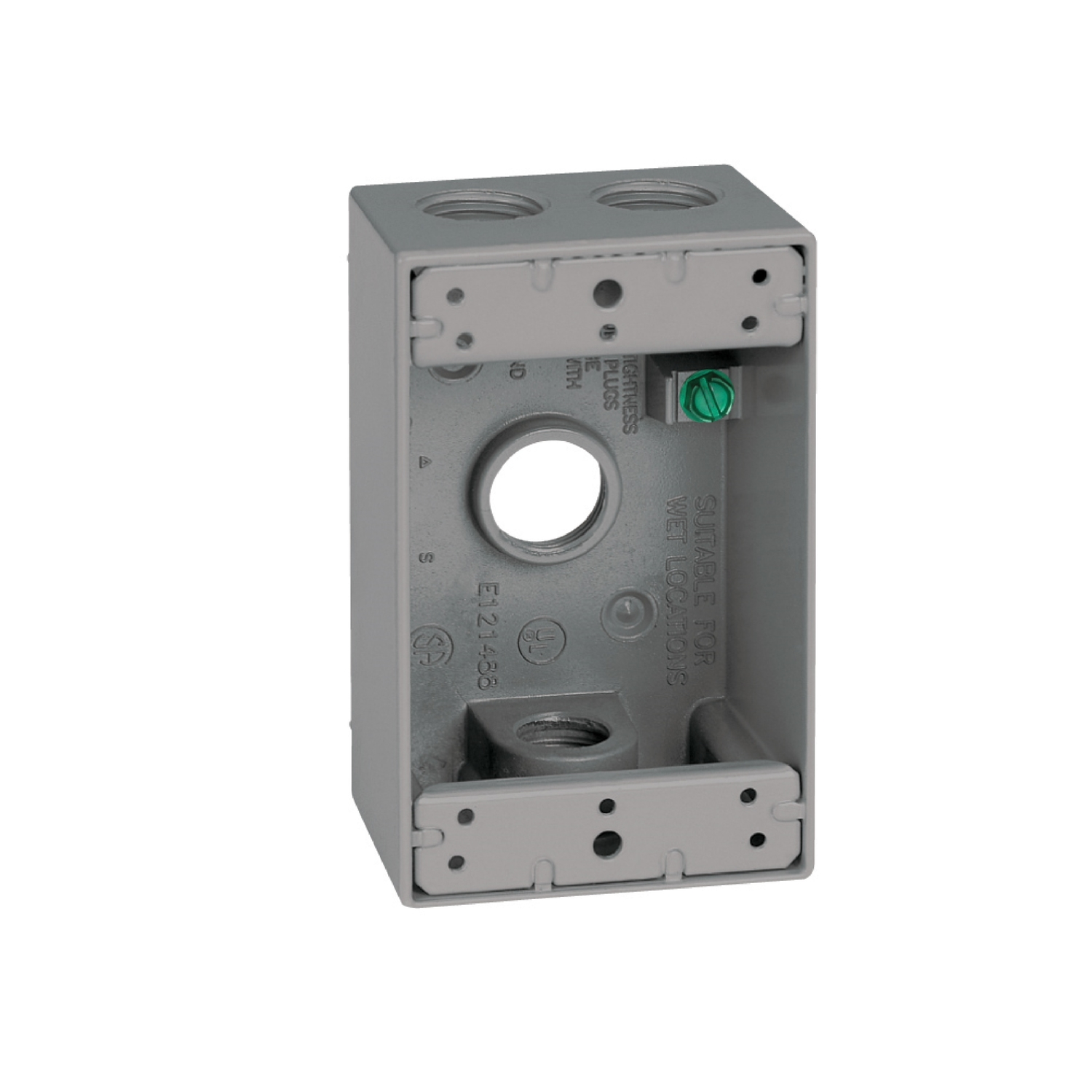 Sigma  4-1/2 in. Rectangle  Aluminum  Outlet Box  Gray  1 Gang