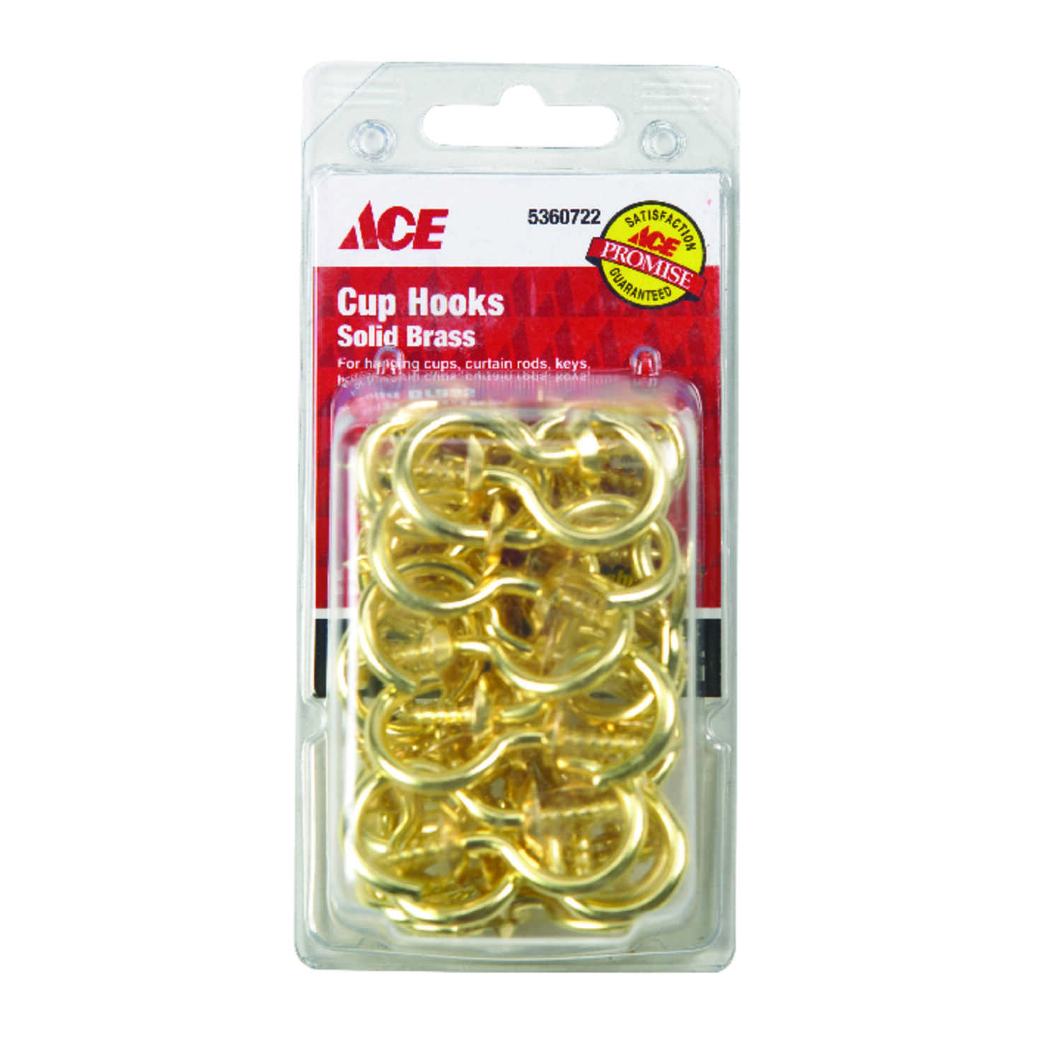Ace  Small  Brass  1.875 in. L Cup Hook  40 pk Bright Brass  30 lb.