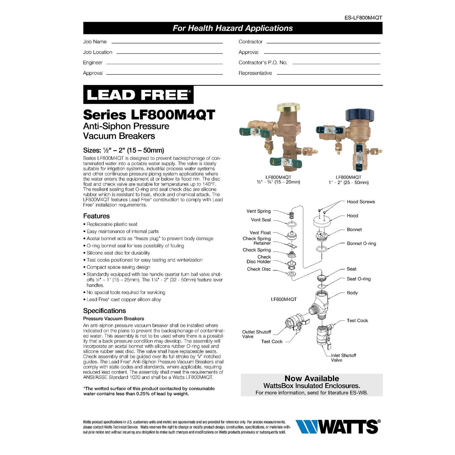 Watts  Bronze  Anti-Siphon Vacuum Breaker